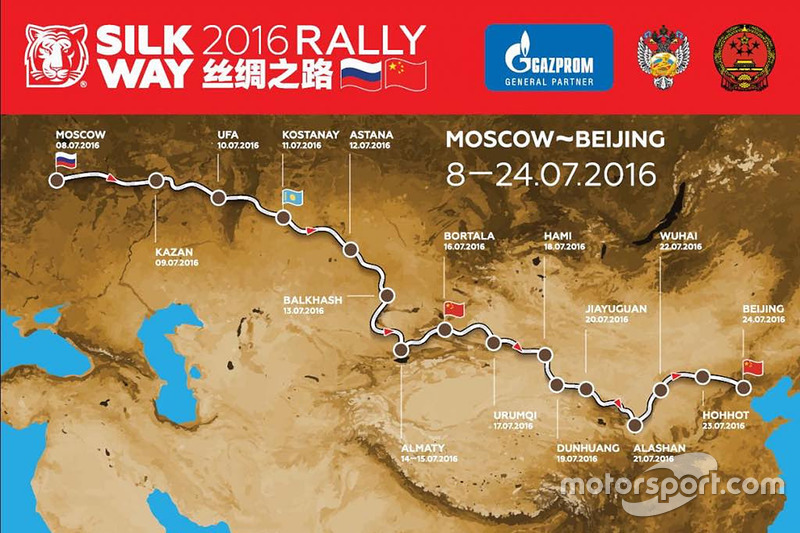 The 2016 Silk Way Rally route map