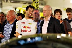 Daniel Ricciardo, Red Bull Racing talks with Adrian Newey, the Chief Technical Officer of Red Bull Racing at the Aston Martin and Red Bull Racing Project AMRB 001 Unveil