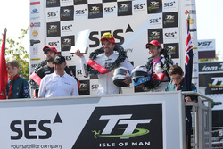Podium: second place William Dunlop, race winner Bruce Anstey, third place Daley Mathison