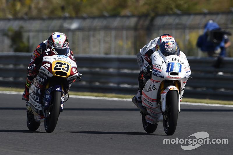 Jorge Martin, Aspar Team Mahindra Moto3; Niccolo Antonelli, Ongetta-Rivacold
