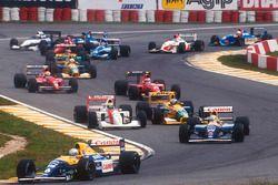 Start: Ricardo Patrese, Williams Renault, Nigel Mansell, Williams Renault, Ayrton Senna, McLaren Honda, Michael Schumacher, Benetton Ford