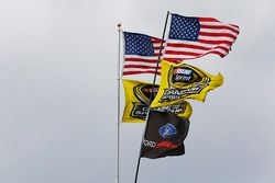 American flags with Sprint Cup flags in the wind