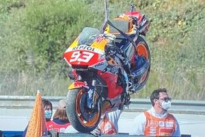 La moto di Marc Marquez, Repsol Honda Team dopo la caduta