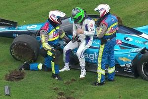 Conor Daly, Carlin Chevrolet post the crash at race start
