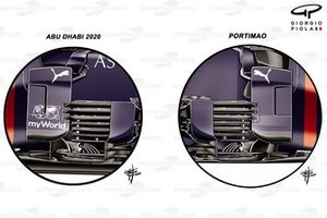 Comparación del antiguo bargeboard del Red Bull Racing RB16B