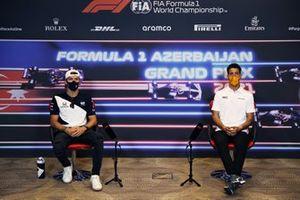Pierre Gasly, AlphaTauri and Daniel Ricciardo, McLaren at press conference