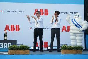 Alejandro Agag, Chairman of Formula E, Alberto Longo, Deputy CEO, Chief Championship Officer of Formula E, on the podium