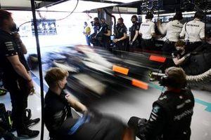Lewis Hamilton, Mercedes W12, leaves the garage