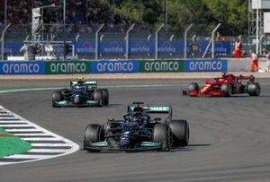 Lewis Hamilton, Mercedes W12, Valtteri Bottas, Mercedes W12, and Charles Leclerc, Ferrari SF21