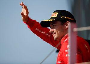 Charles Leclerc, Ferrari, 2nd position, on the podium