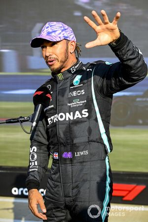 Pole man Lewis Hamilton, Mercedes, is interviewed after Qualifying