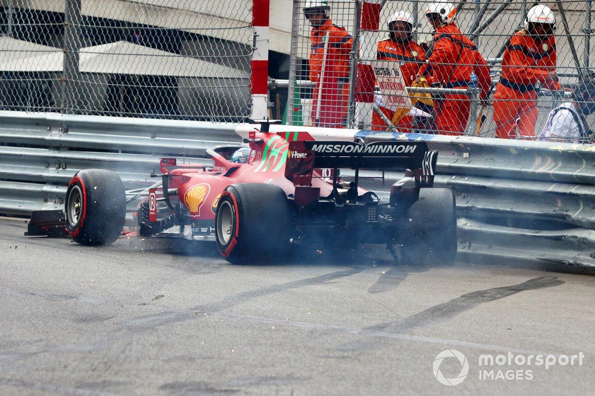 Charles Leclerc, Ferrari SF21, va contro il muro al termine delle qualifiche