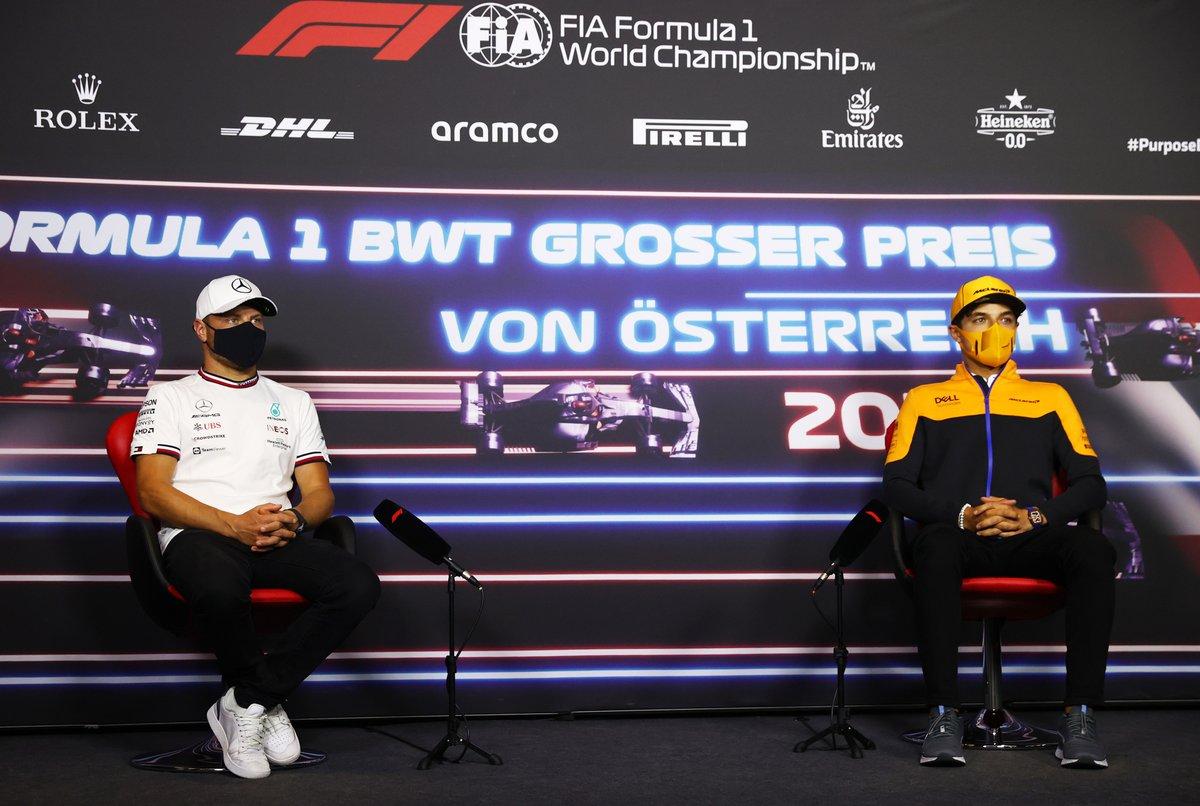 Valtteri Bottas, Mercedes Lando Norris, McLaren durante la conferencia de prensa