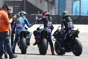 1. Fabio Quartararo, Yamaha Factory Racing, 2. Maverick Vinales, Yamaha Factory Racing, 3. Joan Mir, Team Suzuki MotoGP