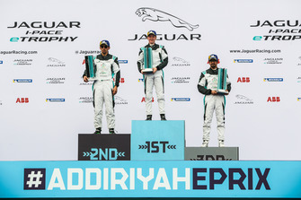 The AM class podium: Race winner Alice Powell, Jaguar VIP car, second place Bandar Alesayi, Saudi Racing, third place Ahmed Bin Khanen, Saudi Racing