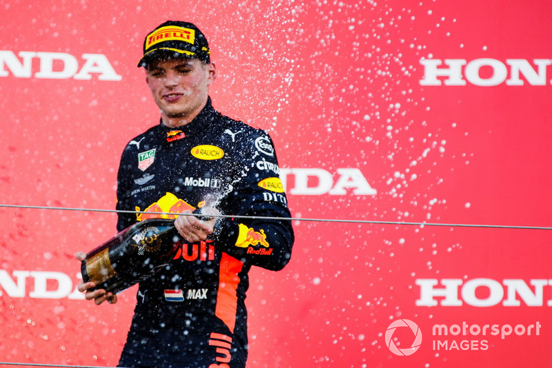 Third place Max Verstappen, Red Bull Racing, sprays Champagne on the podium
