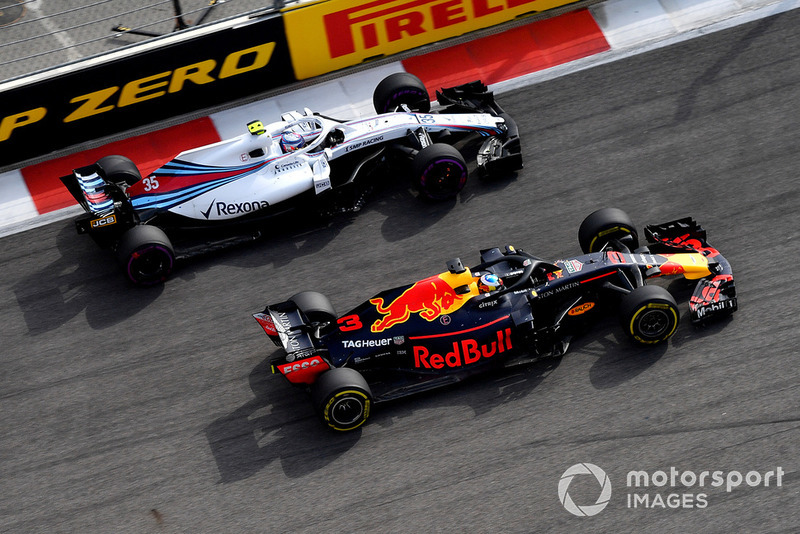 Daniel Ricciardo, Red Bull Racing RB14 y Sergey Sirotkin, Williams FW41
