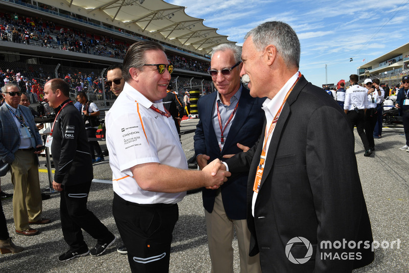 Zak Brown, McLaren Racing CEO, Chase Carey, Chief Executive Officer Formula One Group