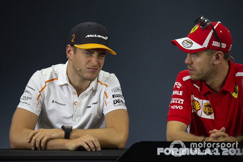 Stoffel Vandoorne, McLaren and Sebastian Vettel, Ferrari in Press Conference