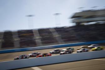 John Hunter Nemechek, Chip Ganassi Racing, Chevrolet Camaro Fire Alarm Services, Inc. leads field