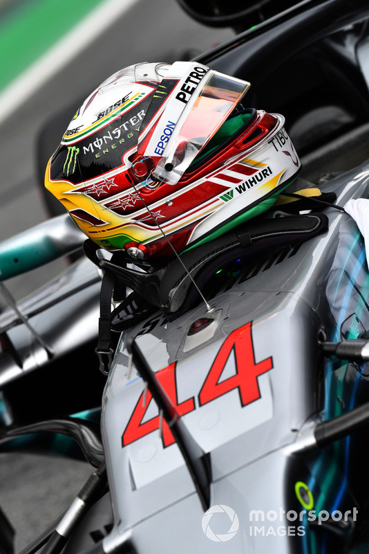 Helmet of Lewis Hamilton, Mercedes AMG F1 in Parc Ferme