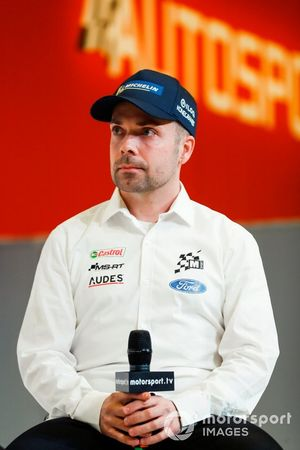 Rally driver co driver Marko Salminen on stage