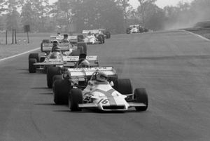 Howden Ganley, BRM P160, leads Mike Hailwood, Surtees TS9 and Ronnie Peterson, March 711
