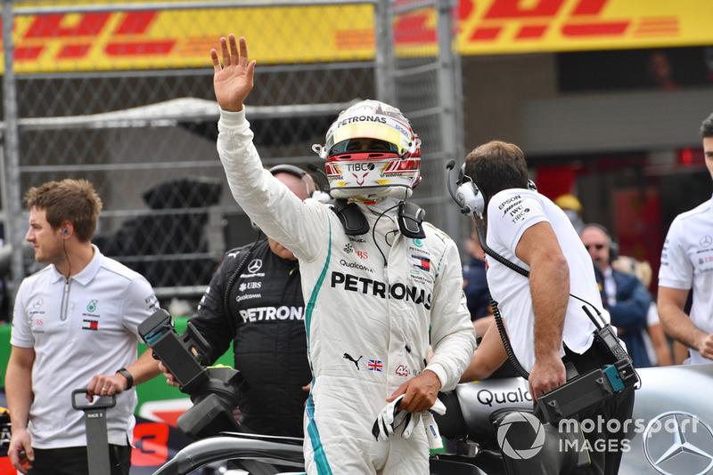 Lewis Hamilton, Mercedes AMG F1, nel parco chiuso