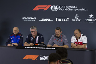 (L to R): Franz Tost, Scuderia Toro Rosso Team Principal, Otmar Szafnauer, Racing Point Force India Team Principal, Guenther Steiner, Haas F1 Team Principal and Frederic Vasseur, Sauber, Team Principal in the press conference