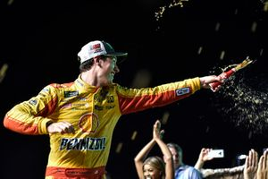 Joey Logano, Team Penske, Ford Fusion Shell Pennzoil, celebrates after winning the 2018 Nascar Monster Cup Series Championship.