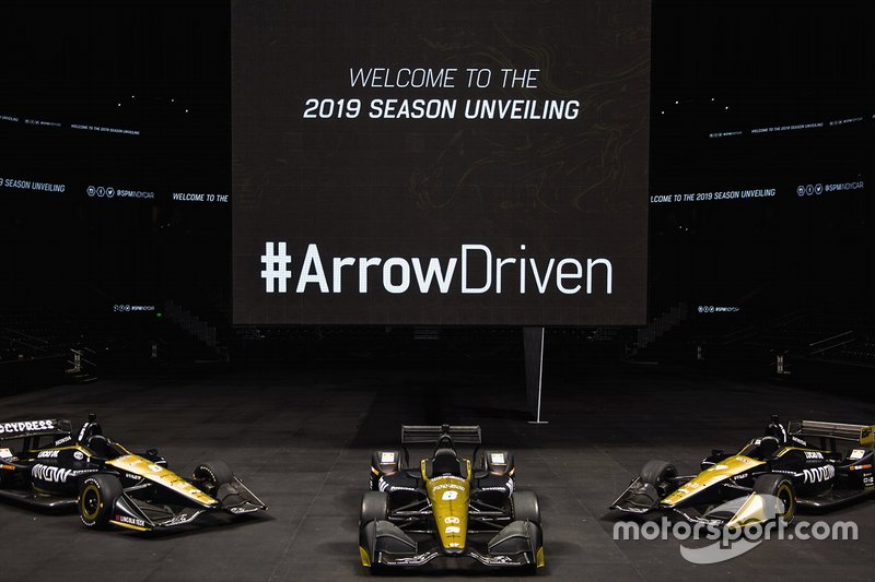 Arrow Schmidt Peterson Motorsports Hondas of James Hinchcliffe, Robert Wickens and Marcus Ericsson.