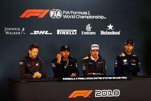 Romain Grosjean, Haas F1 Team,Lewis Hamilton, Mercedes AMG F1, Fernando Alonso, McLaren, and Romain Grosjean, Haas F1 Team, in the press conference.