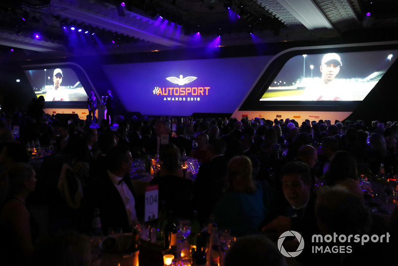 F1 World Champion Lewis Hamilton appears via video link to accept the British Competition Driver and International Racing Driver awards