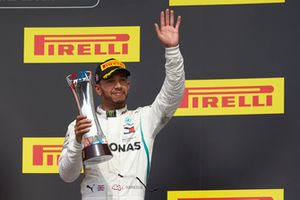 Lewis Hamilton, Mercedes AMG F1, 3rd position, with his trophy on the podium