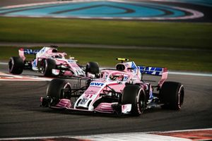 Esteban Ocon, Racing Point Force India VJM11 leads Sergio Perez, Racing Point Force India VJM11