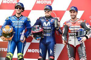 Polesitter Maverick Viñales, Yamaha Factory Racing, second place Alex Rins, Team Suzuki MotoGP, third place Andrea Dovizioso, Ducati Team
