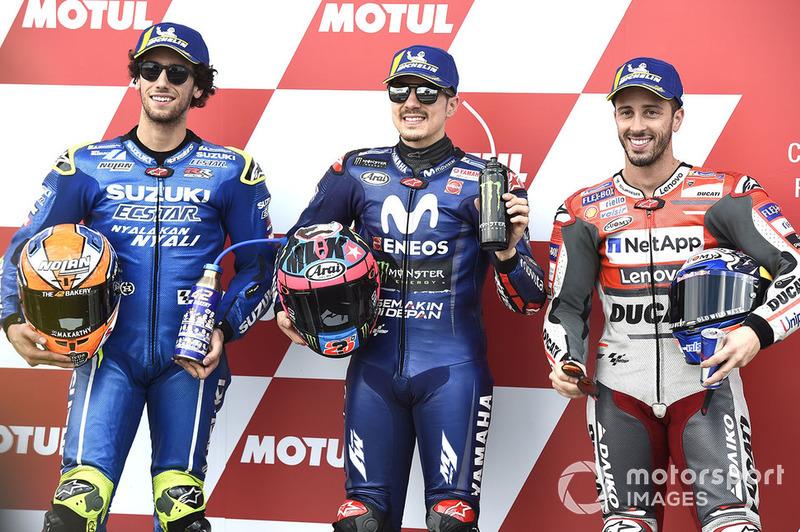 Ganador de la pole Maverick Viñales, Yamaha Factory Racing, segundo lugar Alex Rins, Team Suzuki MotoGP, tercer lugar Andrea Dovizioso, Ducati Team