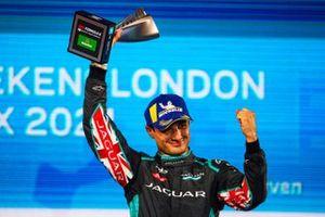 Mitch Evans, Jaguar Racing, third position, lifts his trophy