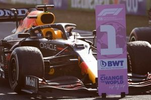 The car of Max Verstappen, Red Bull Racing RB16B, 1st position, in Parc Ferme