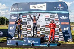 Podium: Race winner Timmy Hansen, Hansen World RX Team Peugeot 208, second place Kevin Hansen, Hansen World RX Team Peugeot 208, third place Niclas Grönholm, GRX-SET World RX Team Hyundai i20