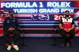 George Russell, Williams Kimi Raikkonen, Alfa Romeo Racing at the press conference