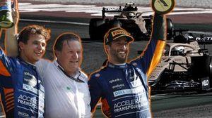 Lando Norris, Zak Brown und Daniel Ricciardo (McLaren) auf dem Podium beim Grand Prix von Italien in Monza 2021