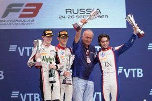 Race winner Jack Doohan, Trident, second place Frederik Vesti, ART Grand Prix, third place Clement Novalak, Trident