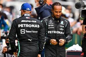 Valtteri Bottas, Mercedes, and pole man Lewis Hamilton, Mercedes, in Parc Ferme