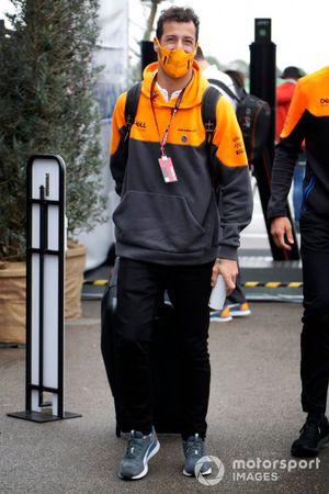 Daniel Ricciardo, McLaren arrives at the track
