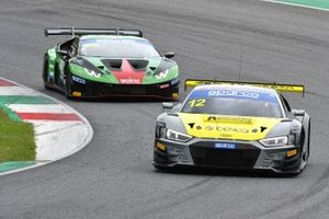 #12 Audi Sport Italia, Audi R8 LMS GT3 Evo: Lorenzo Ferrari, Riccardo Agostini e #63 Imperiale Racing, Lamborghini Huracán GT3 Evo: Luca Ghiotto, Alex Frassineti