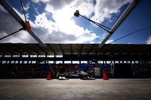Lewis Hamilton, Mercedes W12, in the pit lane