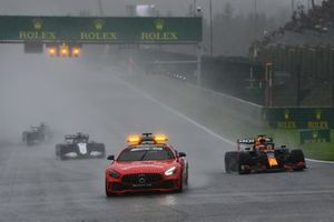 The Safety Car Max Verstappen, Red Bull Racing RB16B, and George Russell, Williams FW43B