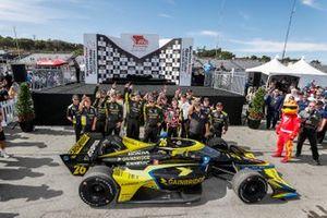 Colton Herta, Andretti Autosport w/ Curb-Agajanian Honda, victory lane, crew members