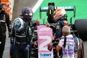 Pole man Valtteri Bottas, Mercedes, Lewis Hamilton, Mercedes, and Max Verstappen, Red Bull Racing, in Parc Ferme after Qualifying